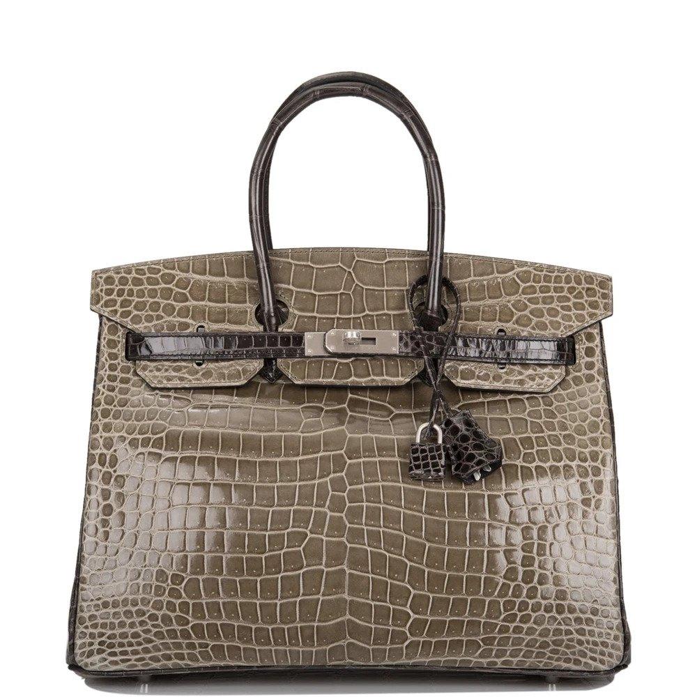 Hermès HSS Bi-Color Gris Tourterelle and Graphite Shiny Porosus Crocodile Birkin 35cm Brushed Palladium Hardware